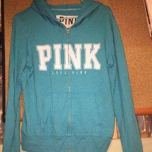 PINK Zip Up Blue Hoodie